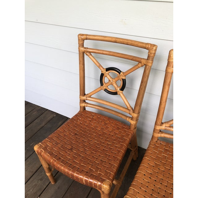 McGuire Rattan Rawhide Target Chairs- Set of 6 For Sale - Image 9 of 13