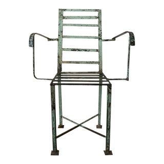 1940s Vintage Handcrafted Industrial Machine Age Welded Chair For Sale
