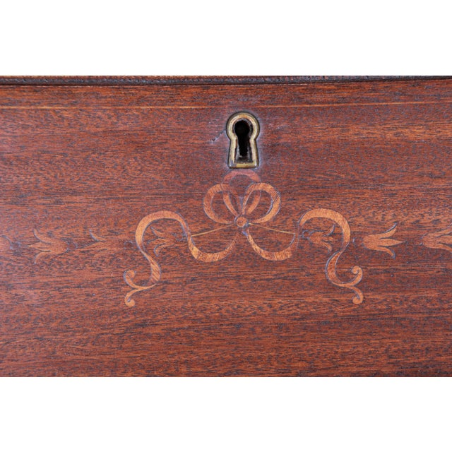 French Louis XV Style Mahogany Drop-Front Secretary Desk With Mother Of Pearl Inlay For Sale In South Bend - Image 6 of 13