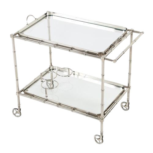 1960S SWEDISH POLISHED-NICKEL, FAUX-BAMBOO BAR CART ON CASTERS - Image 1 of 10