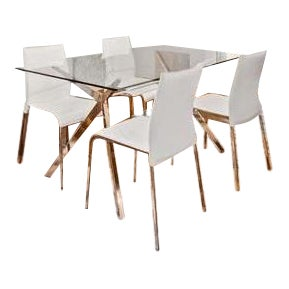 Contempoary Calligaris Seven Dining Table and Leather Chairs - 5 Piece Set