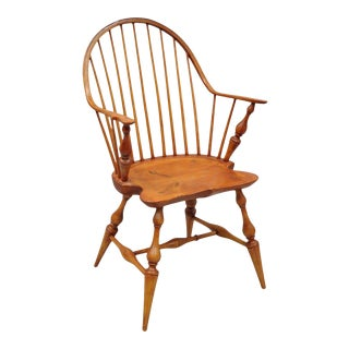 Antique d.r. Dimes Wooden Windsor Bow Back Continuous Arm Dining Chair For Sale