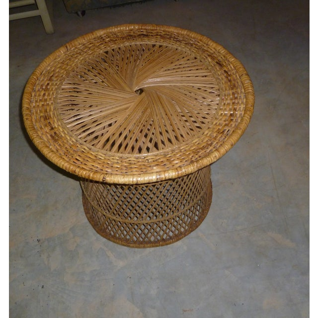MCM Rattan Wicker Woven Round Side Table - Image 10 of 11