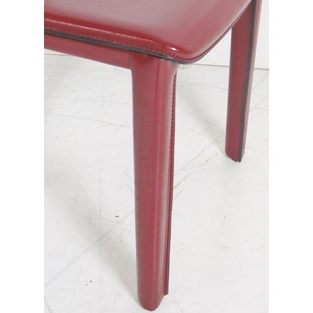 Casillas Red Leather Side Chairs - Set of 6 - Image 2 of 5