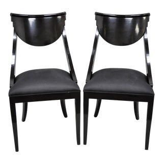 Late 20th Century Vintage Pietro Costantini Italian Black Lacquer Side Chairs- A Pair For Sale