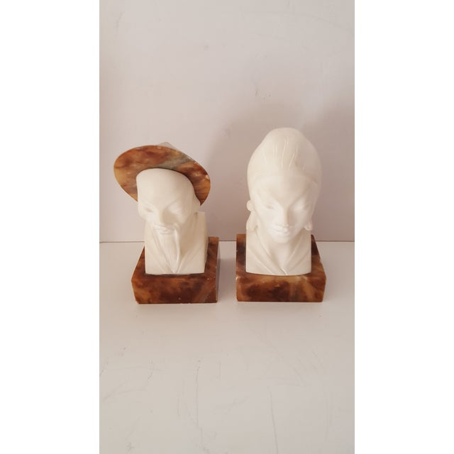 Asian, Vintage Alabaster Male and Female Bust Sculptures - a Pair For Sale - Image 10 of 10