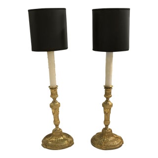 Louis XVI Bronze Dore Candlesticks Wired for Electricity With Lucite Base For Sale
