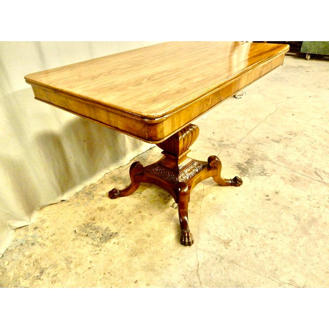 Italian Walnut Pedestal Table For Sale In New Orleans - Image 6 of 8