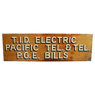1950s Hand-Painted Wood Utility Billing Sign