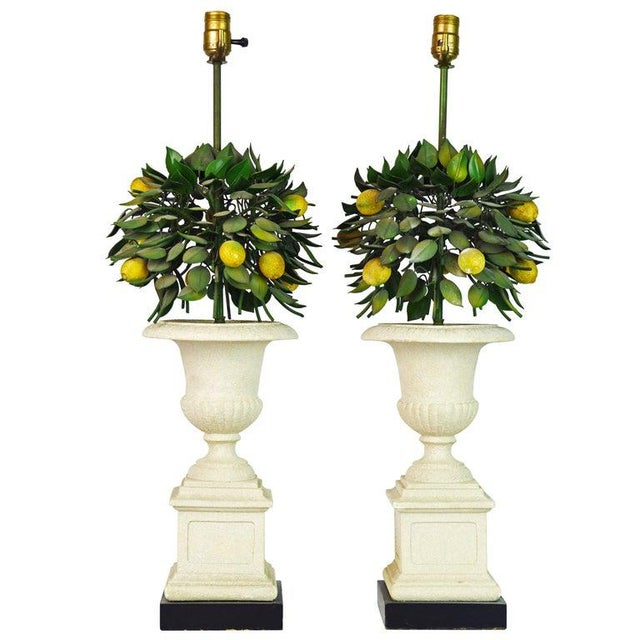 Pair of Vintage Italian Painted Tole Lemon Bush Lamps in Cast Stone Urns For Sale - Image 13 of 13