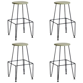 1970s Vintage Industrial Counter-Height Bar Stools- Set of 4 For Sale