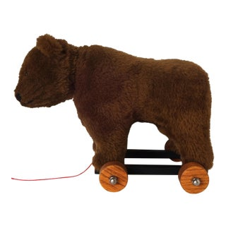 Late 20th Century Vintage Bear on Wheels For Sale