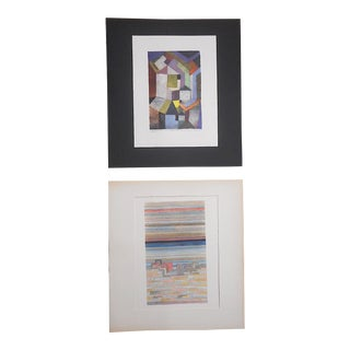 Vintage Mid 20th Century Abstract Lithograph-Paul Klee-A Pair For Sale