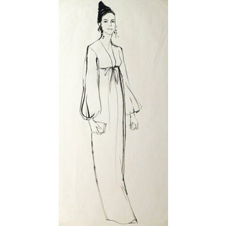 French Ink Sketch - Portrait of Elegance For Sale