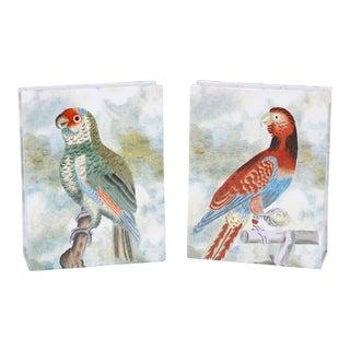 Hand-Painted Porcelain Parrot Vases - A Pair For Sale