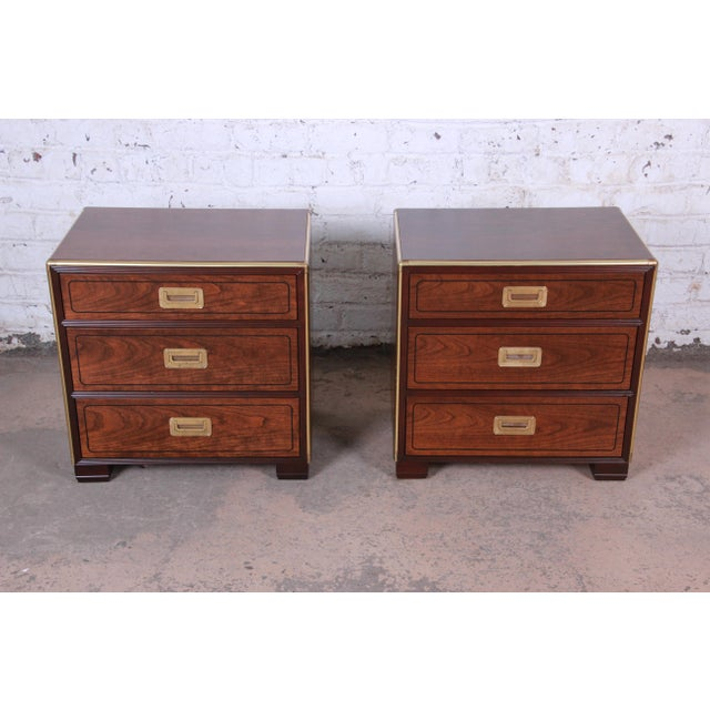 Campaign Baker Furniture Campaign Walnut and Brass Nightstands - a Pair For Sale - Image 3 of 13