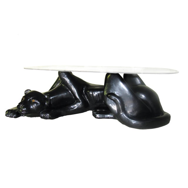 Mid Century Modern Hollywood Regency Panther Cocktail Coffee Table In Black With Gold Eyes Includes