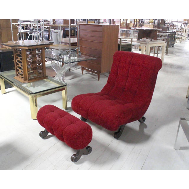 Hollywood Regency Hollywood Regency Scoop Shape Lounge Chair Foot Stool Red Upholstery HOT For Sale - Image 3 of 9