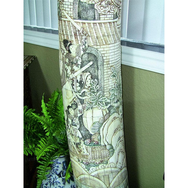 Paint 20th Century Chinese Profusely Handcarved Faux Elephant Tusks - a Pair For Sale - Image 7 of 12