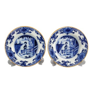 18th-Century Dutch Delft Plates With Figures, Long Eliza, Pair For Sale