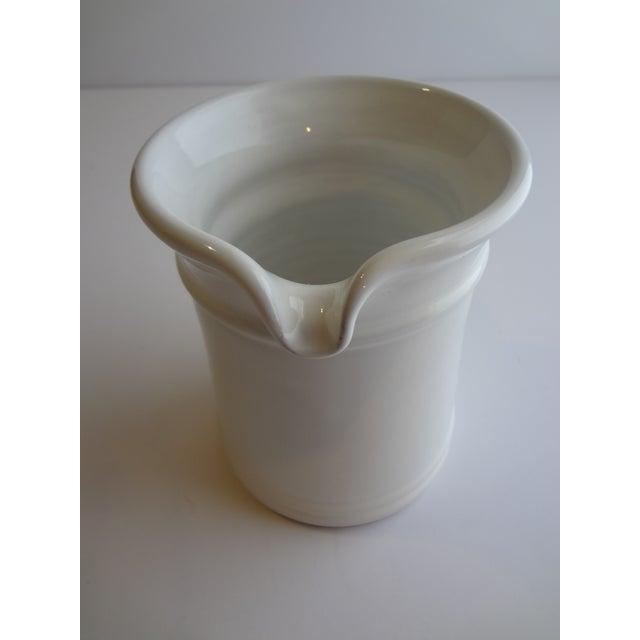 Late 20th Century Goldsmith Glazed White Ceramic Pitcher For Sale - Image 5 of 6