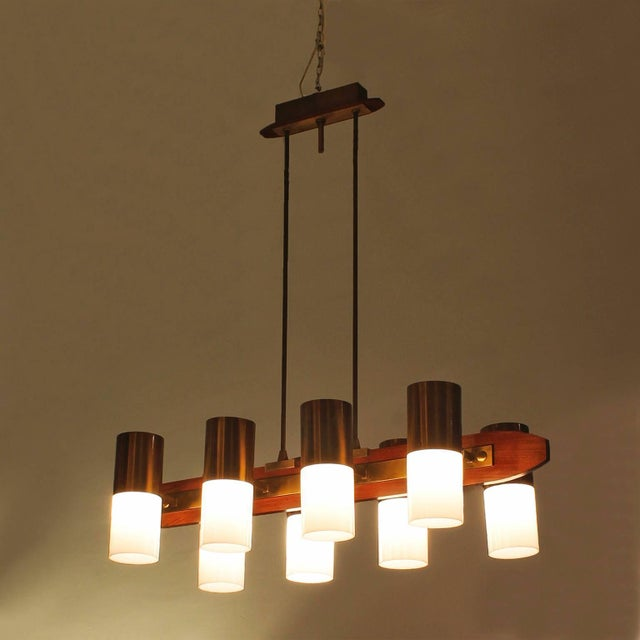 1960s 1960´s Chandelier 8 lights, solid teak, brass and plexiglass - Italy For Sale - Image 5 of 7