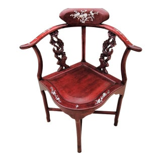 Vintage Chinese Rosewood Mother of Pearl Corner Chair; For Sale