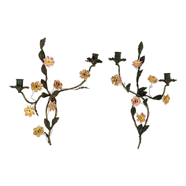 Tole and Porcelain Floral Wall Hanging Candle Holders- A Pair For Sale