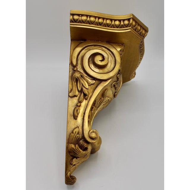 Large Art Nouveau Golden Acanthus Leaf Wall Shelves - a Pair For Sale - Image 4 of 13