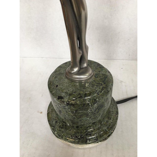 Harlequin Ballets Russes Silver Bronze Lamp in the Manner of Max Le Verrier For Sale - Image 11 of 13