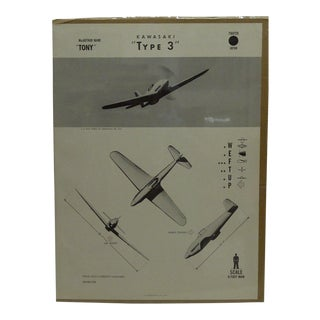 "Vintage WWii Aircraft Recognition Poster ""Kawasaki Type 3"", Japan, 1944"