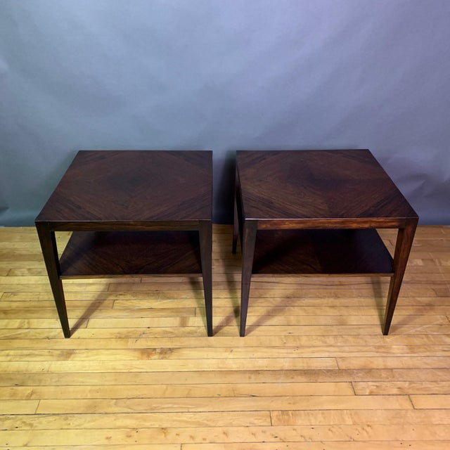 Mid-Century Modern Pair Isaac Teperman Brazilian Rosewood Side Tables, 1950s For Sale - Image 3 of 11
