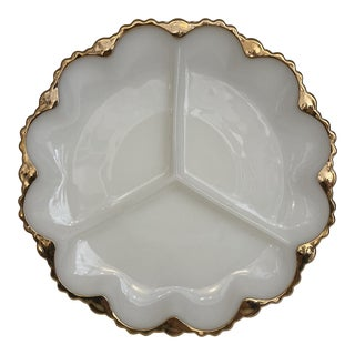 Mid 20th Century Gold Leaf Milk-Glass Tray For Sale