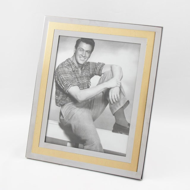 1970s 1970s Noel b.c. Italy Modernist Chrome and Brass Picture Photo Frame For Sale - Image 5 of 6