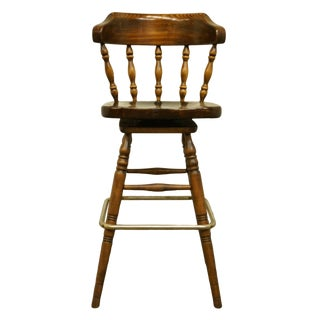 Late 20th Century Ethan Allen Antiqued Pine Old Tavern Stool For Sale