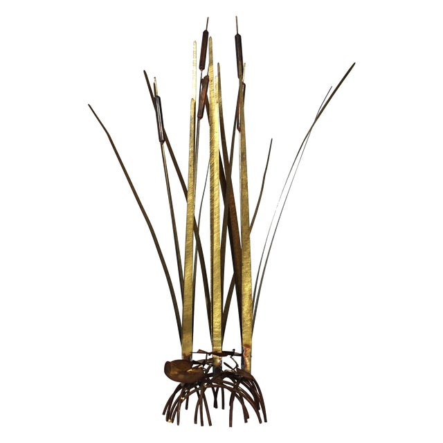Mid Century Kinetic Sculpture of Cattails For Sale