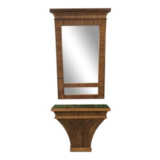 La Barge Pencil Reed Bamboo Rattan Console Table and Mirror For Sale
