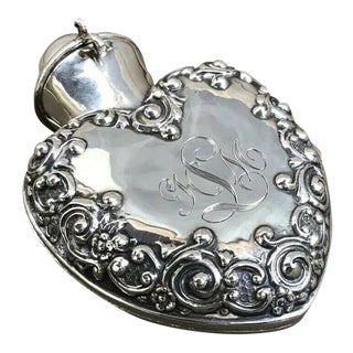 Antique Birmingham 1900 Sterling Silver Heart Shaped Repoussé Carrying Case For Sale