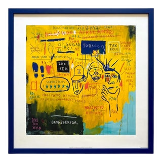 "Jean Michel Basquiat Estate Framed Fine Art Lithograph Print "" Hollywood Africans "" 1983 For Sale"