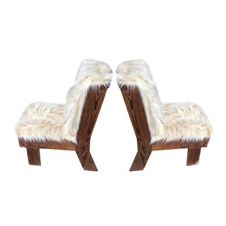 Attributed Gerrit Rietveld Pair of Brutalist Raw Pine Slipper Chairs For Sale