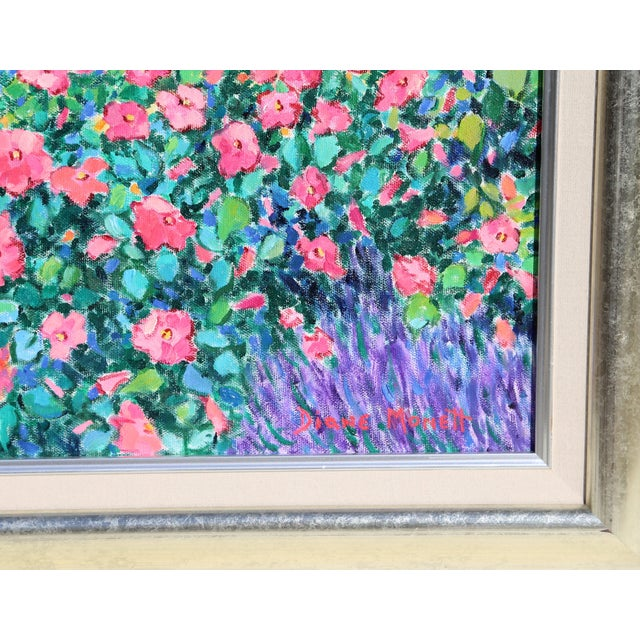 Filled with roses, lavender, and a variety of other blossoming flowers, the lush garden in this Diane Monet painting...