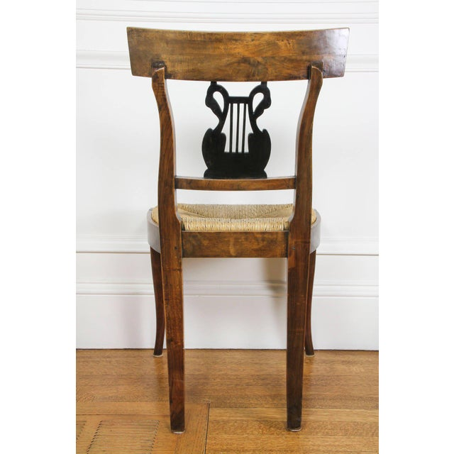 Early 19th Century Set of Six Italian Neoclassic Walnut and Ebonized Dining Chairs For Sale - Image 5 of 10