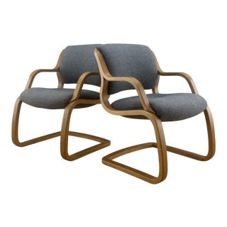 1980s Vintage Steelcase Cantilever Bentwood Chairs - A Pair For Sale