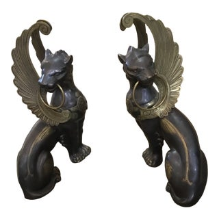 Metal Sphinx Statues - a Pair For Sale