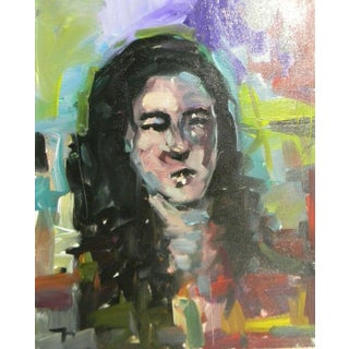 Jose Trujillo Original Portrait Abstract Expressionism Modernism Oil Painting For Sale