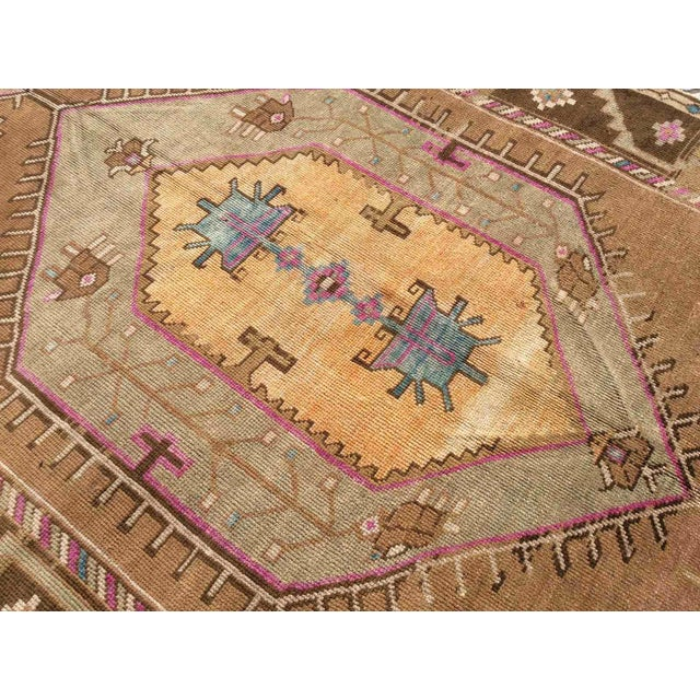 Hand Knotted Brown Turkish Rug For Sale - Image 10 of 12