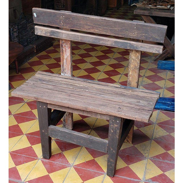 Wood 1980s Vintage Moroccan Handmade Old Wood Park Bench For Sale - Image 7 of 8