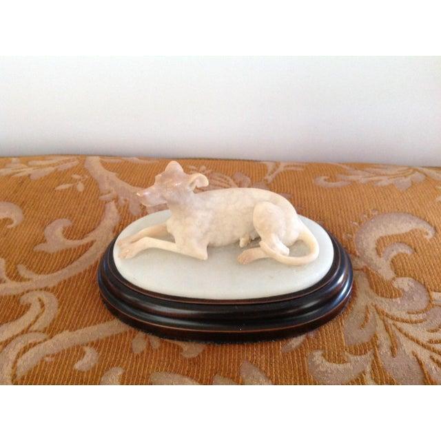 Antique English Carved Alabaster Dog Figurine For Sale - Image 4 of 4