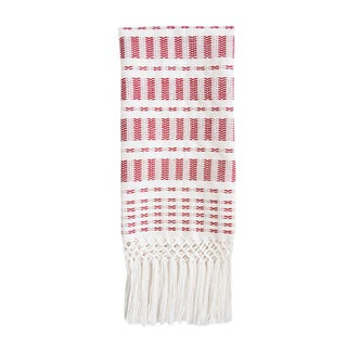 Red Ikat and Striped Chiapas Hand Towel