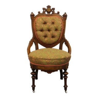 Early 20th Century Antique Victorian Walnut Tufted Heart Back Ornate Accent Chair For Sale